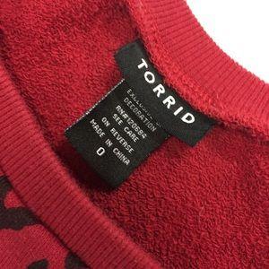 torrid Tops - TORRID Sweatshirt Red Black Cheetah Love SZ 0